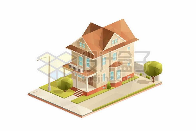 2.5D风格三层小楼别墅房子8537315矢量图片免抠素材 建筑装修-第1张