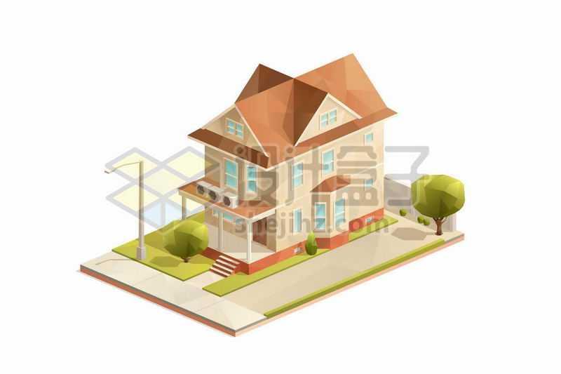 2.5D风格三层小楼别墅房子8537315矢量图片免抠素材