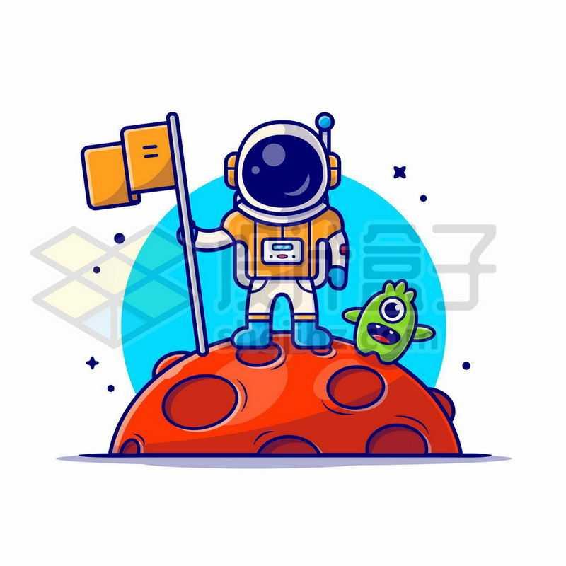MBE风格卡通宇航员在火星上插旗红色星球探索宇宙7945449矢量图片免抠素材