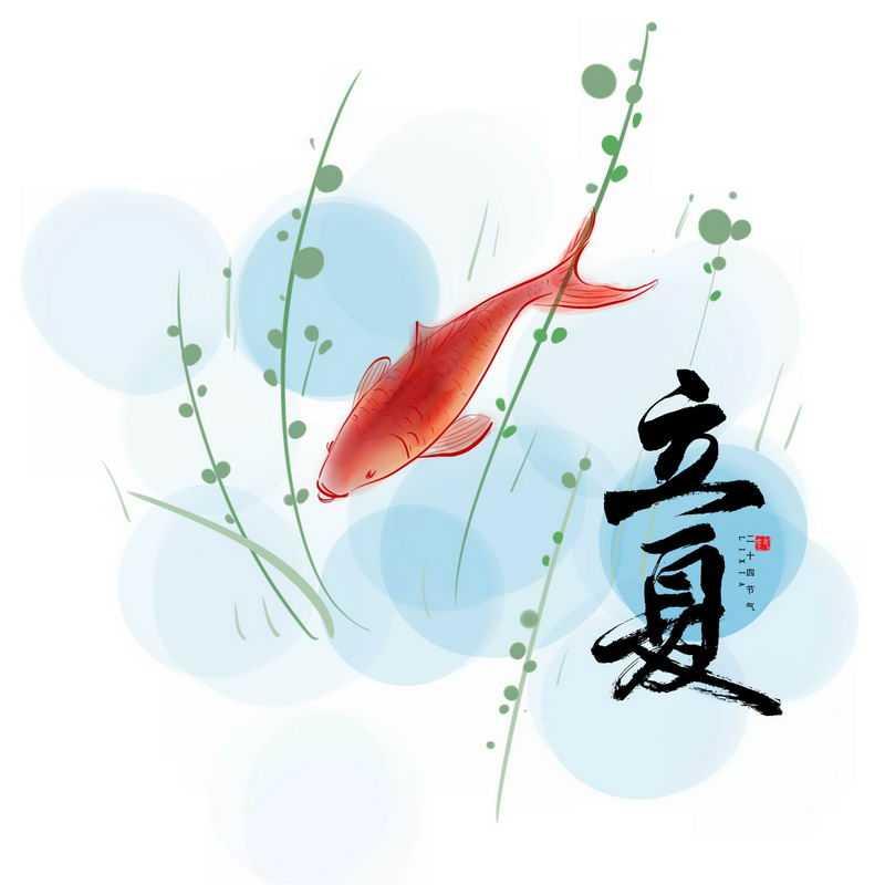 24节气之立夏手绘金鱼和艺术字体5658421图片素材