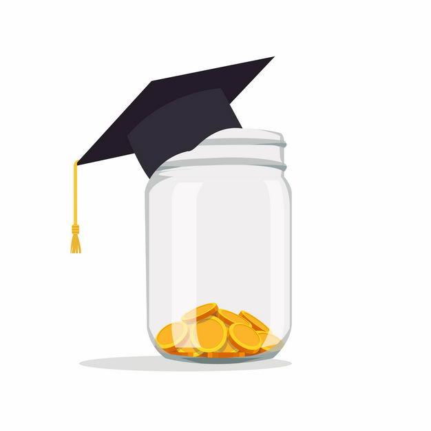 玻璃罐中的金币和博士帽为孩子教育基金存钱9565131矢量图片免抠素材 教育文化-第1张