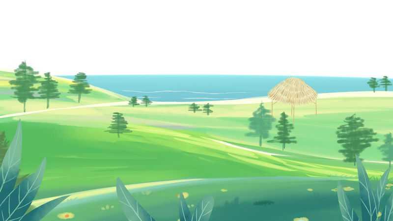 海边的绿色大草原手绘插画9628773png图片免抠素材