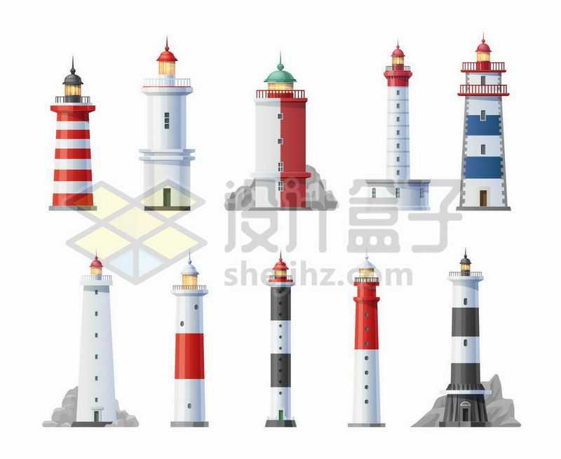 10款风格各异的灯塔5462787矢量图片免抠素材