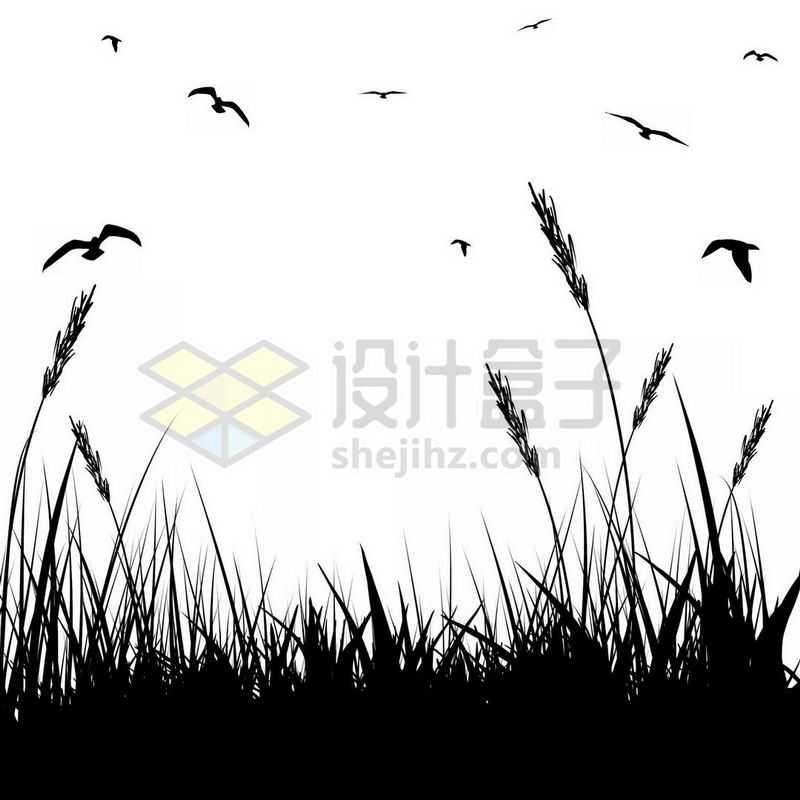 草丛和天空中的飞鸟剪影6137574免抠图片素材