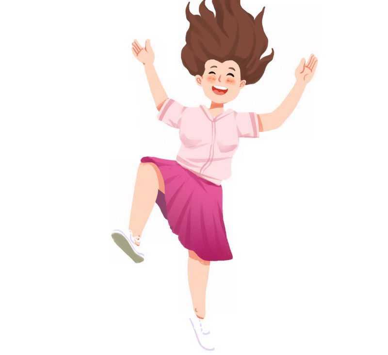 开心得跳起来的卡通女孩4682344png图片免抠素材