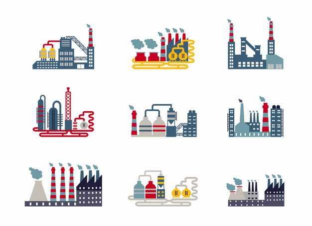 9款扁平化风格的化工厂发电厂等工业设施1446897矢量图片免抠素材