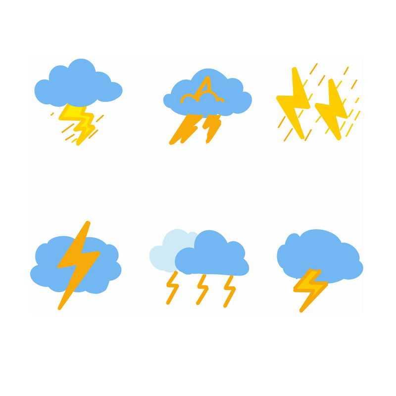 6款扁平化风格卡通天气预报图标闪电雷阵雨图标7418940图片素材