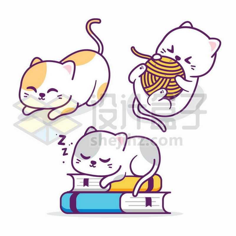 3款卡通猫咪正在玩毛线球趴在书本上睡觉9331737矢量图片免抠素材