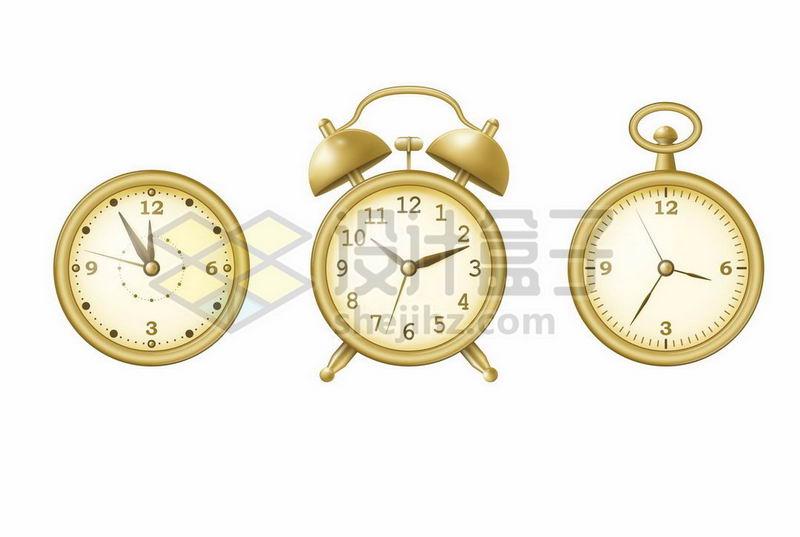 金色钟表表盘和闹钟等7171998矢量图片免抠素材 生活素材-第1张