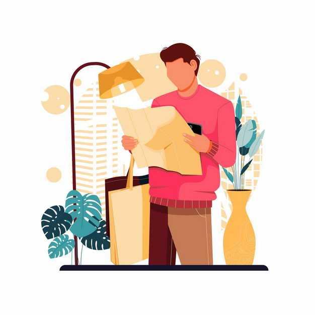 男人正在看报纸手绘插画3344007矢量图片免抠素材