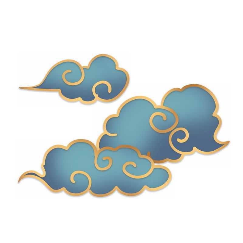 中国风金丝边蓝色祥云图案1238674图片素材