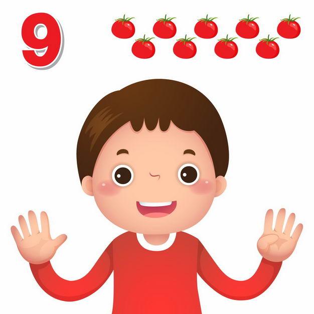 卡通小男孩数数字9幼儿园数学教学数字手势7970037矢量图片免抠素材 教育文化-第1张