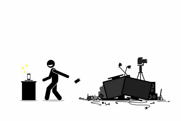 黑色小人儿扔掉手机和各种电子垃圾处理5204229矢量图片免抠素材 生活素材-第1张
