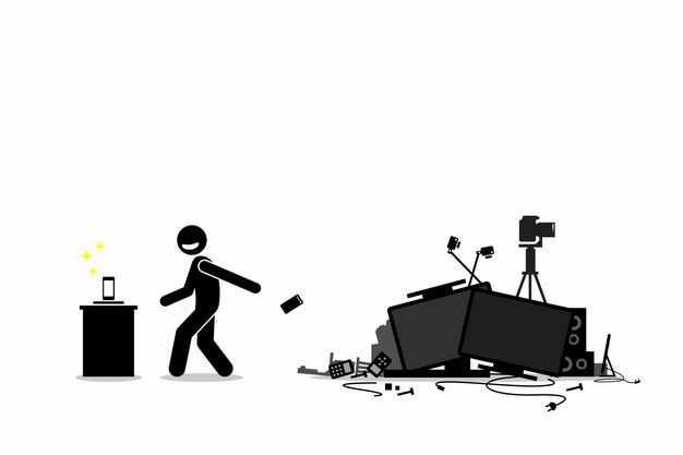 黑色小人儿扔掉手机和各种电子垃圾处理5204229矢量图片免抠素材