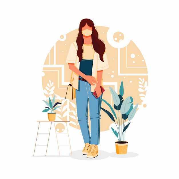 长发女孩戴口罩背着包正在行走手绘插画3174496矢量图片免抠素材