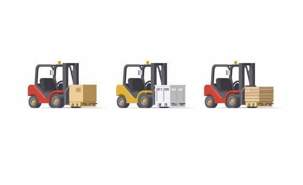 3辆叉车正在搬运货物货运行业5747308矢量图片免抠素材