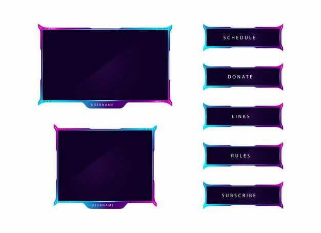 彩色边框的游戏比赛信息框比分框5503812矢量图片免抠素材