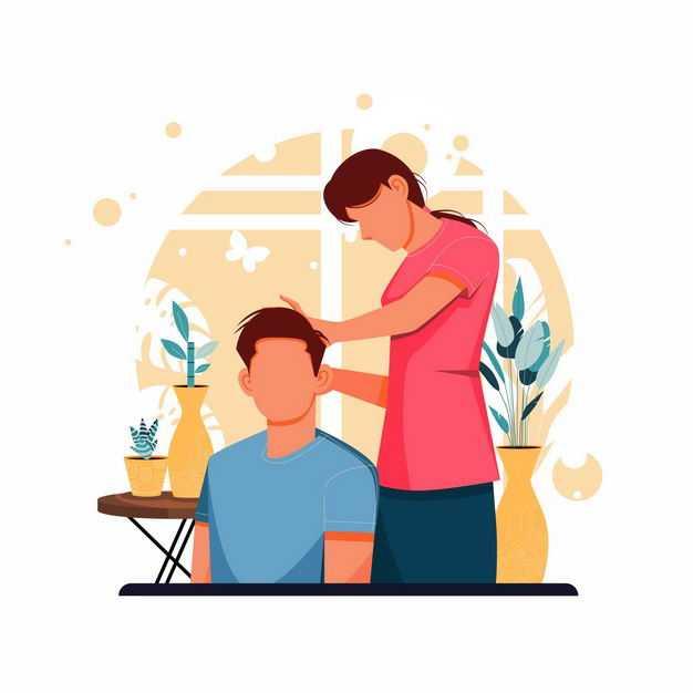 在理发店里剪头发的男人手绘插画8173841矢量图片免抠素材