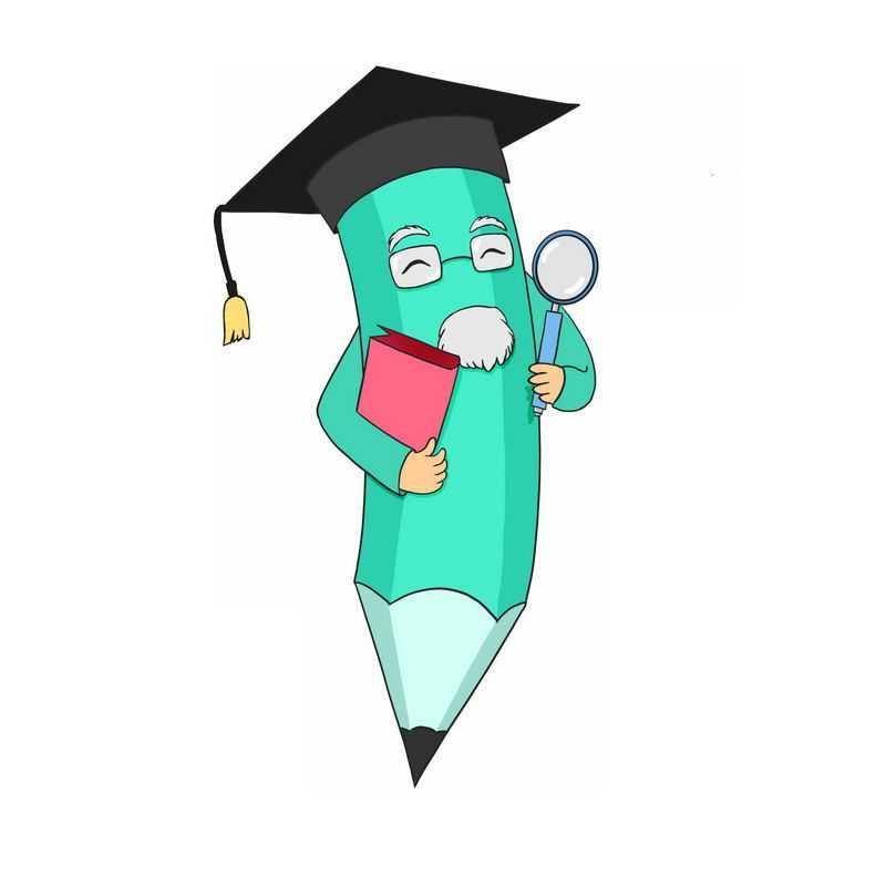 卡通绿色铅笔教书育人的老教授9779419免抠图片素材