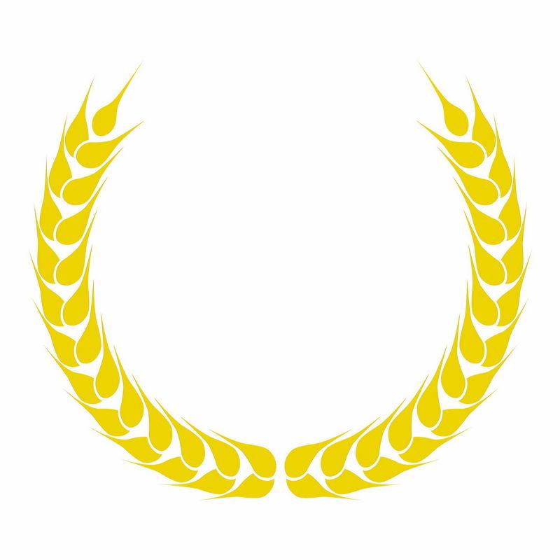金黄色麦穗徽章标志logo边框装饰4363153AI矢量图片免抠素材 标志LOGO-第1张