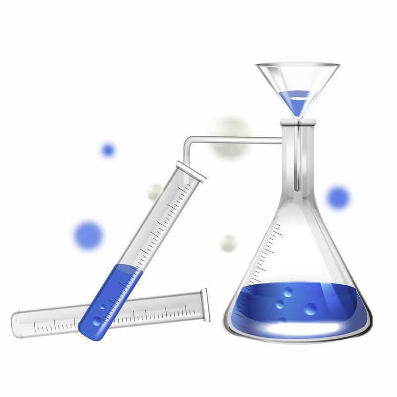 装有蓝色液体的试管和锥形瓶漏斗等化学实验教学仪器3557579AI矢量图片免抠素材