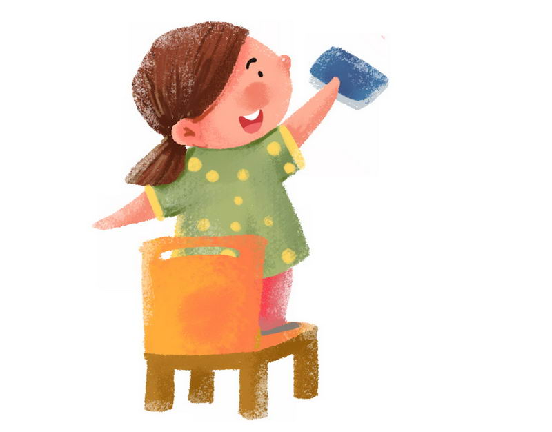 卡通女孩正在擦窗户打扫卫生大扫除3233820png图片免抠素材 人物素材-第1张