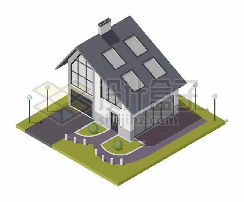 2.5D风格小别墅自带车库的房子3876955矢量图片免抠素材