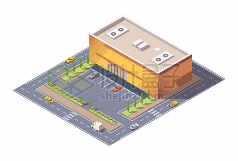2.5D风格大型超市购物中心和停车场1375439矢量图片免抠素材