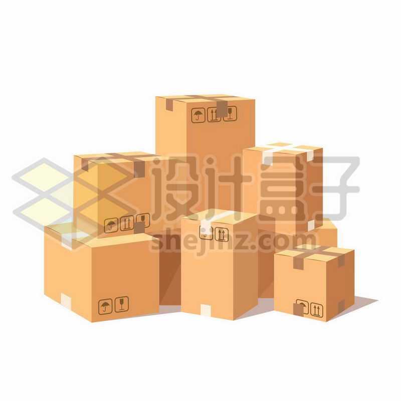 一大堆打包好的包装箱纸盒子8866055矢量图片免抠素材
