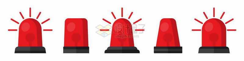 5款红色警报灯6243556矢量图片免抠素材