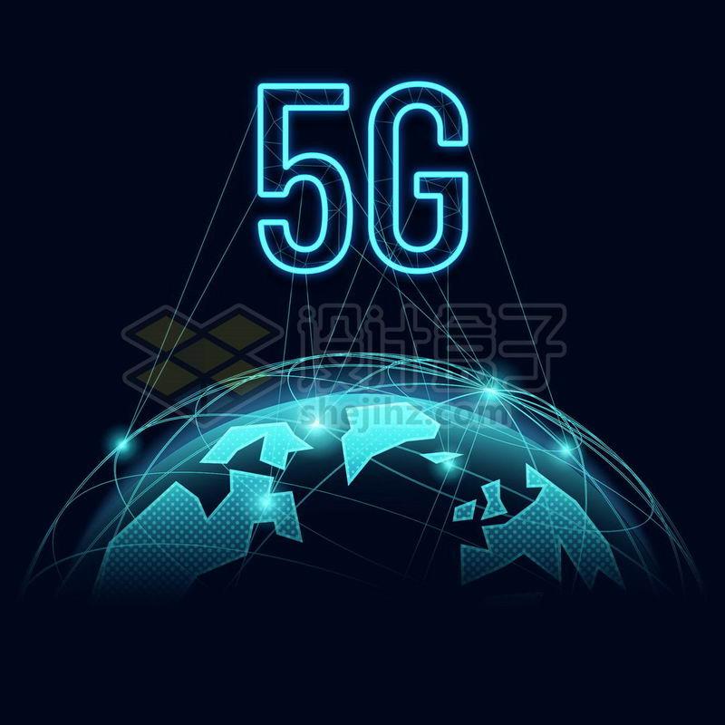 蓝色发光效果多边形组成的地球高科技风格5G通信技术6912046免抠图片素材 IT科技-第1张
