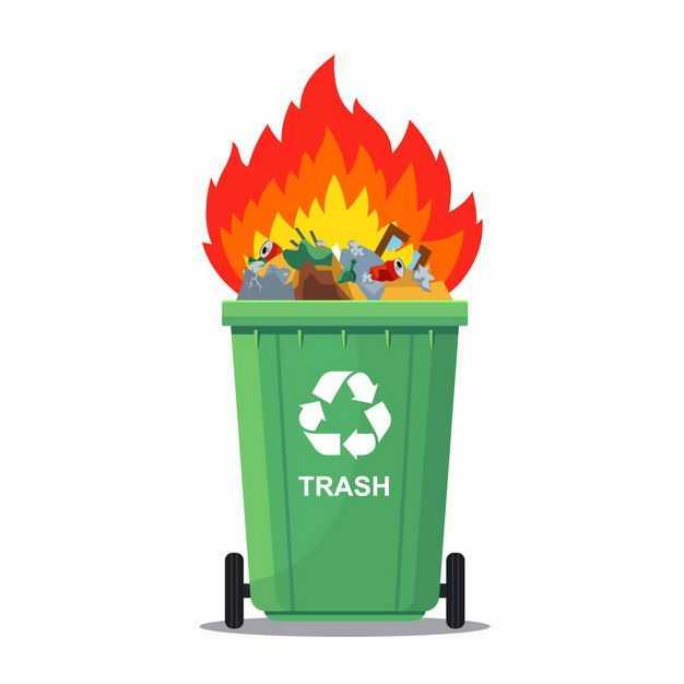 垃圾桶中燃烧的垃圾垃圾焚烧垃圾处理5254437矢量图片免抠素材