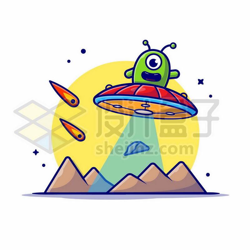 MBE风格卡通外星人驾驶飞碟探索宇宙1033829矢量图片免抠素材 军事科幻-第1张
