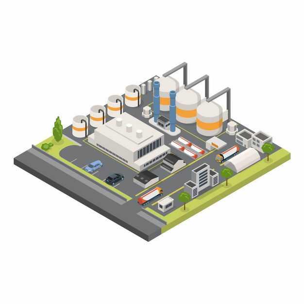 2.5D风格的工业园区和工厂厂房8738103矢量图片免抠素材