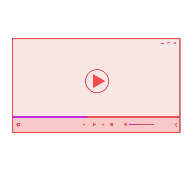 粉红色的电脑视频播放器界面设计7919476图片素材 UI-第1张