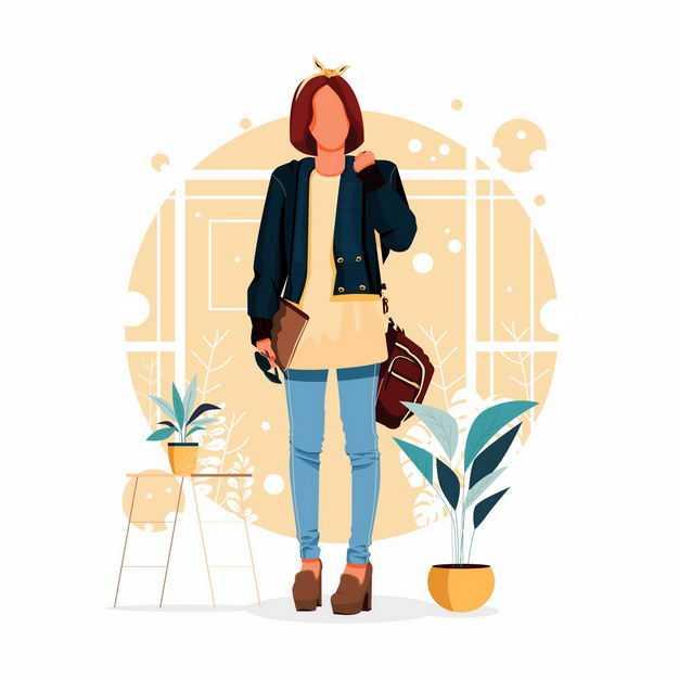 女孩背着包站立着手绘插画3672560矢量图片免抠素材
