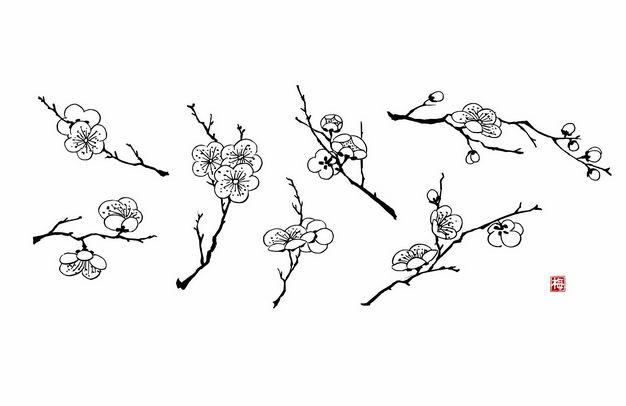 黑色线条手绘风格梅花桃花9583894矢量图片免抠素材 生物自然-第1张