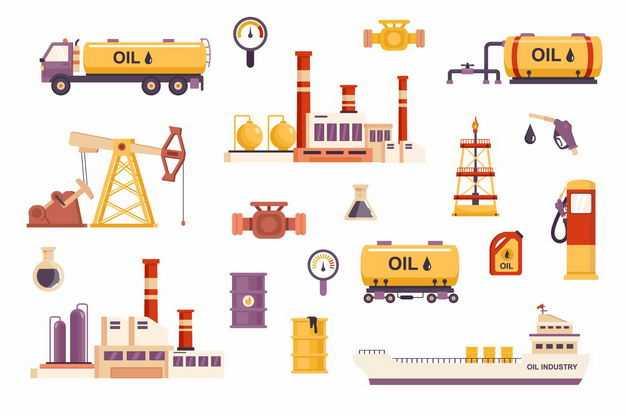 各种石油开采油罐车化工厂石油工业油轮等3713973矢量图片免抠素材