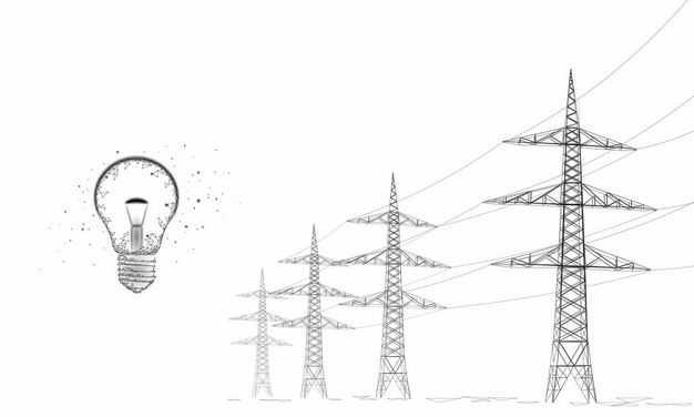 黑色线条风格电力塔高压线和电灯泡3233250矢量图片免抠素材