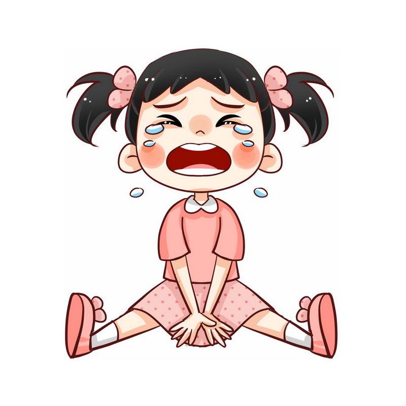 坐在地上撒泼哭闹没教养打滚的卡通小女孩3078836图片素材 人物素材-第1张