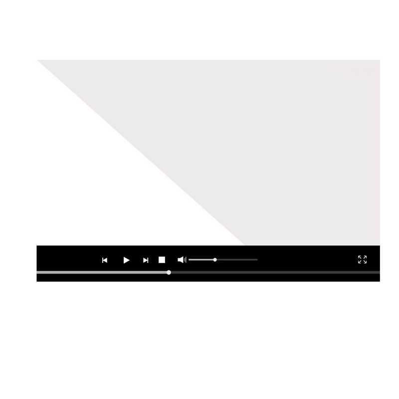 扁平化风格黑色电脑视频播放器界面设计4370524图片素材