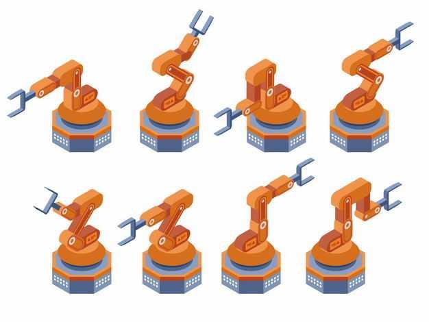 8款橙色的工业机器人机械手臂流水线机器人4040403矢量图片免抠素材