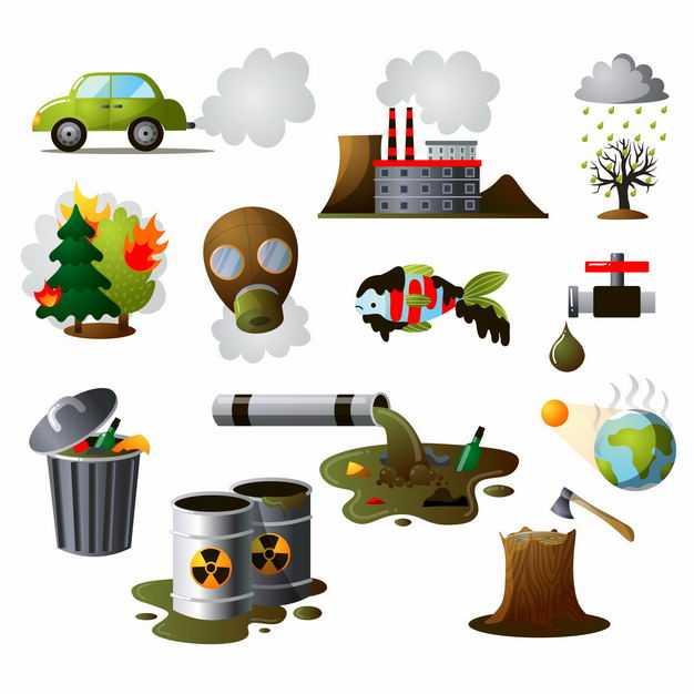 各种冒着尾气的汽车工厂酸雨或者空气污染水污染砍伐森林等环境被破坏2313954矢量图片免抠素材
