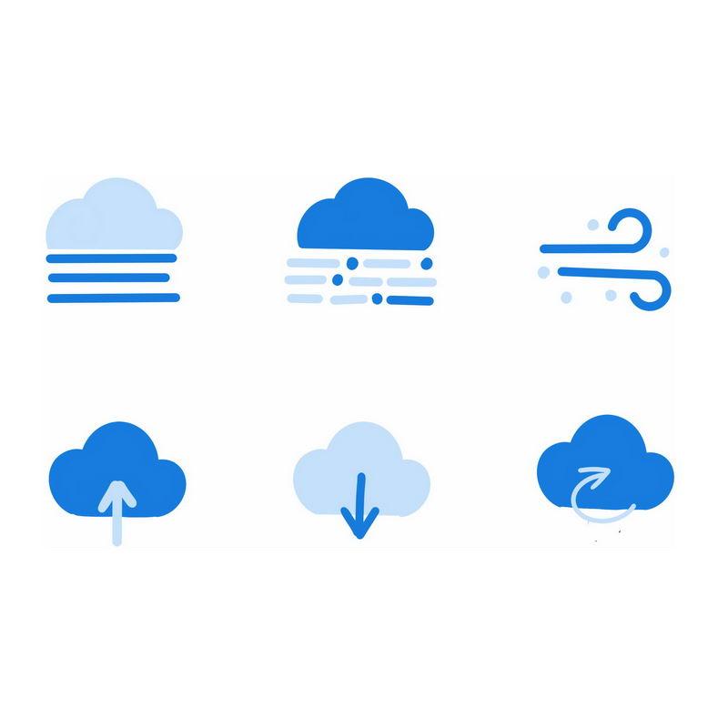 6款扁平化风格蓝色卡通天气预报图标3224753图片素材 图标-第1张