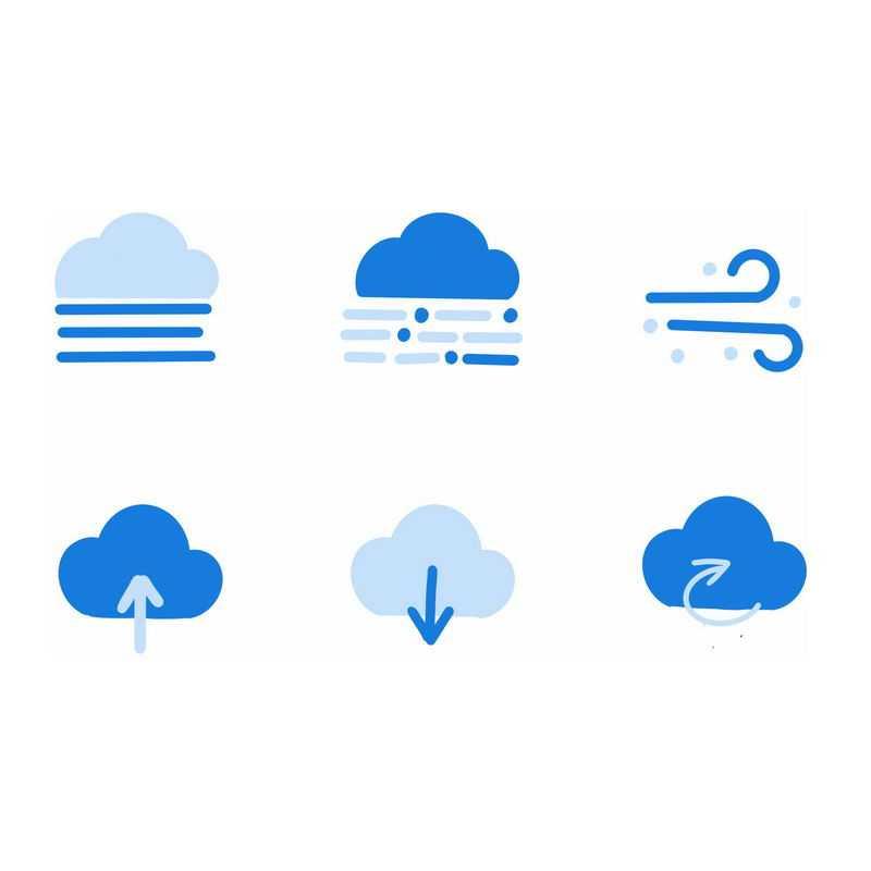 6款扁平化风格蓝色卡通天气预报图标3224753图片素材