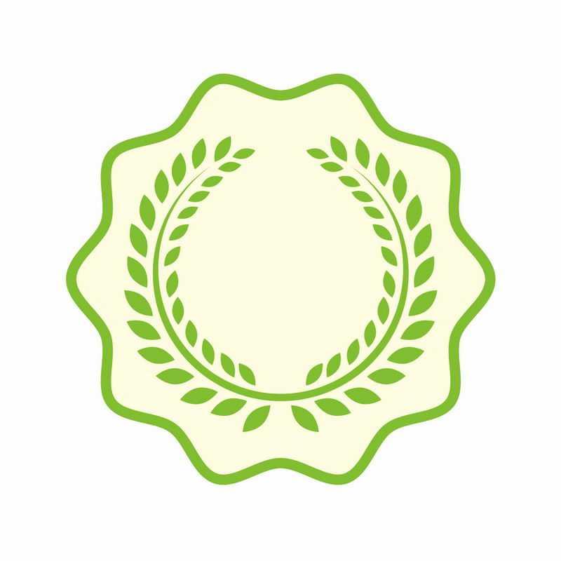 绿色树叶徽章标志logo边框装饰3688632AI矢量图片免抠素材