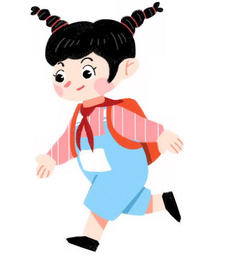 扎着羊角辫的卡通小女孩背着书包去上学1894454png图片免抠素材 人物素材-第1张