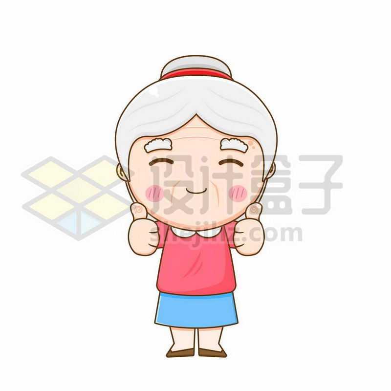 竖起大拇指为你点赞的卡通老奶奶2204696矢量图片免抠素材
