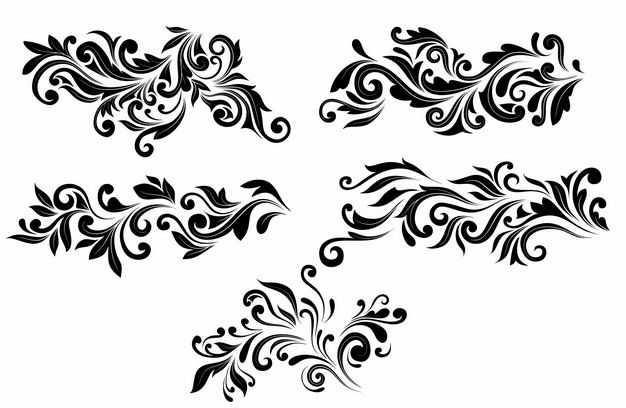 5款黑色树叶复古装饰图案2612772矢量图片免抠素材