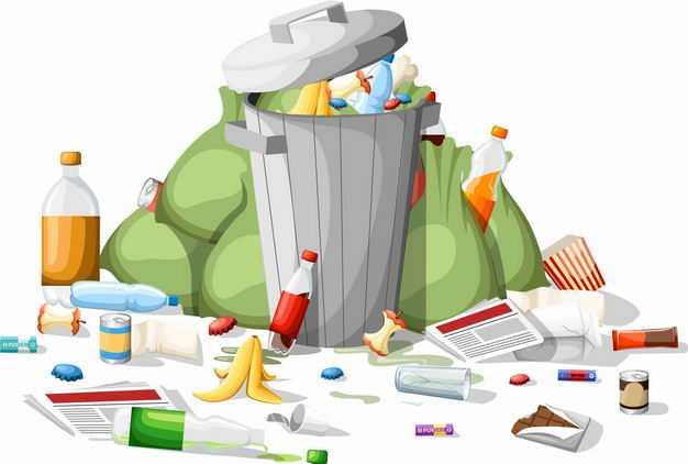 装满垃圾的垃圾桶6026405矢量图片免抠素材